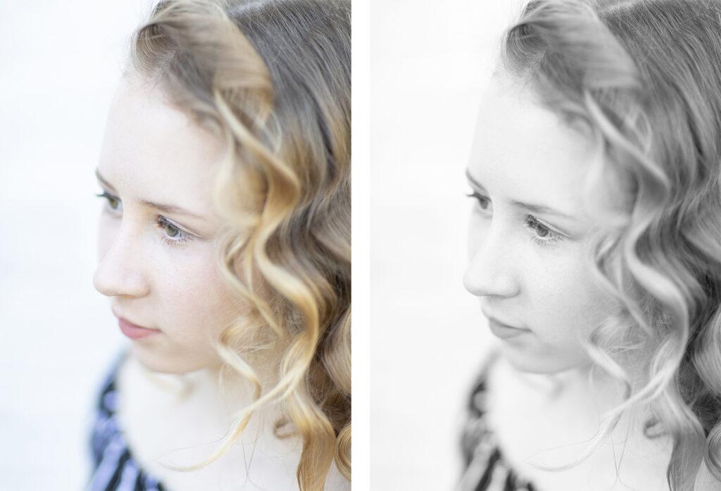 Vergleich bunt- schwarzweiss Foto